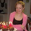 """Chocolatey"" desserts with shocking pink candles. Great picture of Casey - it's a shame i'ts blury!"