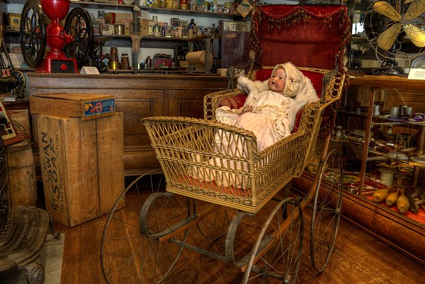 Antique Baby Carriage & Doll - Cowichan Valley Museum, Duncan, Vancouver Island, BC, Canada