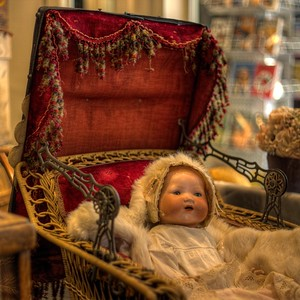 """Antique Baby Carriage & Doll - Cowichan Valley Museum, Duncan, Vancouver Island, BC, Canada Visit our blog """"The Antique Baby Carriage"""" for the story behind the photo."""