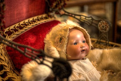 "Antique Baby Carriage & Doll - Cowichan Valley Museum, Duncan, Vancouver Island, BC, Canada Visit our blog ""The Antique Baby Carriage"" for the story behind the photo."