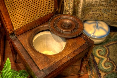 Wood Commode Chair - Cowichan Valley Museum, Duncan, Vancouver Island, BC, Canada