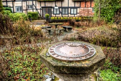 Sundial in Garden, Anne Hathaways Cottage (Replica), English Inn & Resort, Victoria, BC, Canada