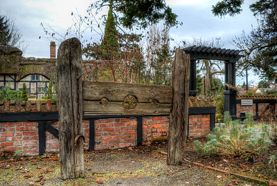 Pillory in Garden, Anne Hathaways Cottage (Replica), English Inn & Resort, Victoria, BC, Canada