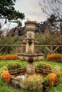 Fountain in Garden, Anne Hathaways Cottage (Replica), English Inn & Resort, Victoria, BC, Canada