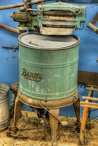"""Antique Beatty Agitator Washing Machine (c. 1920's) - Metchosin Pioneer Museum, Vancouver Island, BC, Canada Visit our blog """"Rusty Antique Washing Machine"""" for the story behind the photo."""