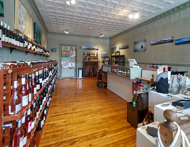 Inside a wine store in Castine, Maine.