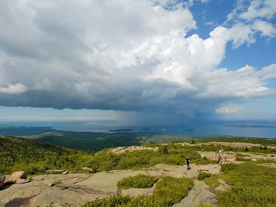 Bar Harbor in the rain from Cadillac Mountain in Acadia National Park, Maine.