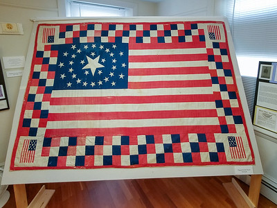 Historic War for Independence Quilt in a Historic Museum, Belfast, Maine.