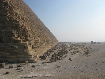 Fallen stones lie at the Base of Chephren's Pyramid, Giza, Egypt.