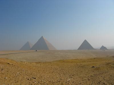 Great Pyramid of Cheops, Chephren and Mekerrinus (Left to Right), Giza, Egypt.