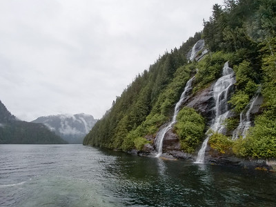 Catamaran tour of the waterways and waterfalls around Ketchikan, Alaska.