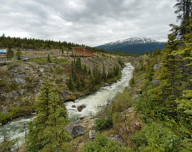 The river that flows under the Yukon Suspension Bridge, B.C., Canada.