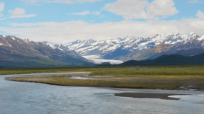 The Maclaren Glacier and Maclaren River  across from the Maclaren Lodge,  Gakona, Alaska.