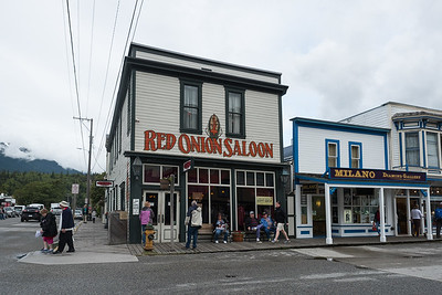 Outside the Red Onion Saloon, downtown Skagway, Alaska.