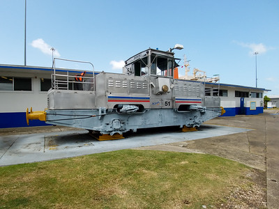 Later model tug on display at the Gatun Locks.