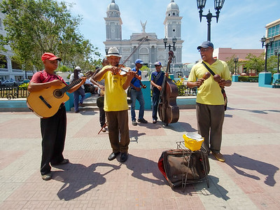 Musicians in Santiago de Cuba playing in front of the Parque Cespedes.