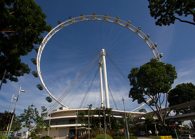 Known as the Singapore Flyer, this is the Ferris Wheel that takes you to a thirty-one story height where you can see the city, the harbor and many miles in every direction. Highly recommended if you find yourself in Singapore.