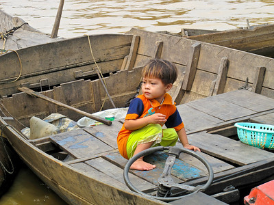 Life of a young child in the Tonle Sap Lake Floating Village in Cambodia.