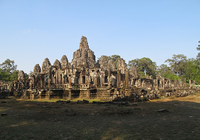 This temple is Angkor Thom in Siam Reap, Cambodia.