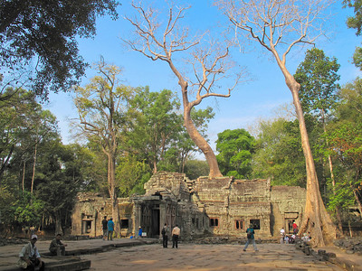 Ta Prohm Temple, Ankor Conservation District, Siam Reap, Cambodia. Portions of the Indiana Jones movie were filmed here and in this area.