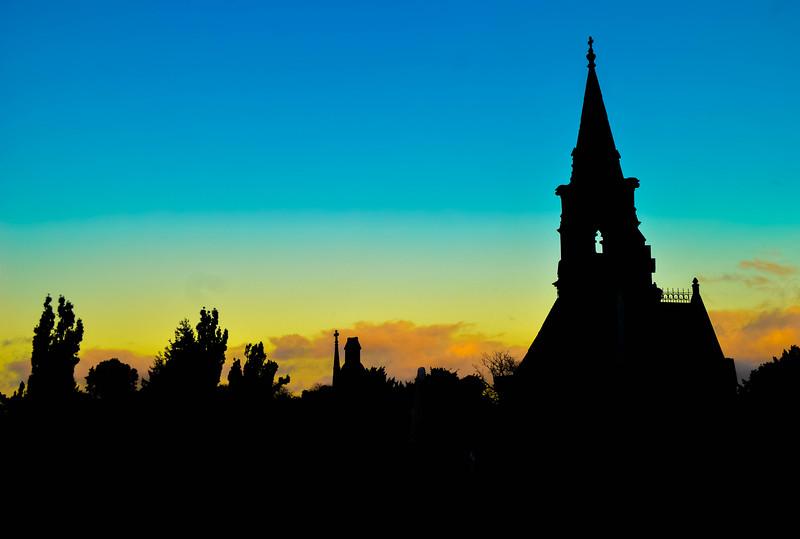 The setting sun on Glasnevin
