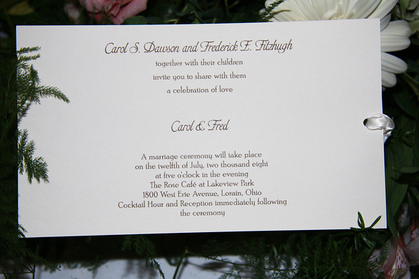 Carol and Fred's Wedding...Updated Dec 2012