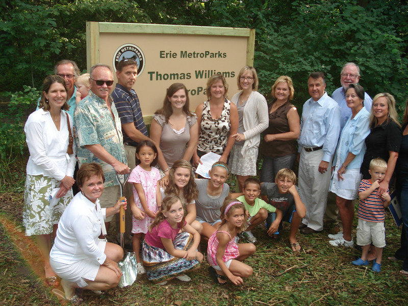 L to R. Cindy Williams, Rich Masin holding small child, Mark Williams, Jennifer Masin, kneeling, Mark Parker, dark blue stripes, Ellen Rossi, Sarah Parker, Saber VanDetta, Karen Rossi, Christopher Williams, Tom gleason, Shirley Williams Gleason Megan Masin and seated, grandchildren.