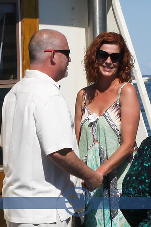Wedding Day for Amy and Patrick. Saturday, August 6, 2016 on Compass Rose, a documented New England lobster boat owned by Captain Jim Dickey.