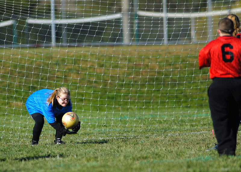 Crushers Goal Keeper #12 Amber Casson with a save. The Crushers won 4-3 2OT.  (The Journal News/Scott Davis)