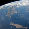 """A mountainous rocky land led to major seafaring; nicknamed the """"Cradle of Western Civilization."""" ISS over the Mediterranean. (ANSWER: Greece)"""