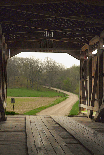 Looking out from a covered bridge in Parke County.