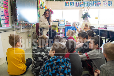 Karen Pasqualetti teaches kids about groundhog day during her 2nd grade class at Harold O. Brumsted Elementary School