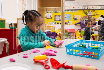 Saron Oqbaslassie, 4 shapes play-doh in Araceli Troncone's Pre-K class at Our Lady of Black Rock School.