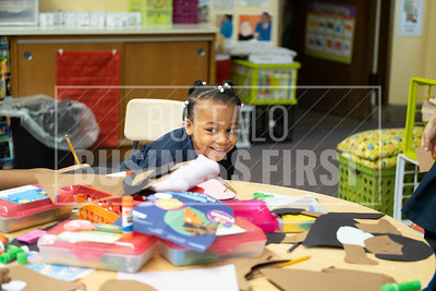 Zataya Sommerville, 6, plays in her first grade class at Our Lady of Black Rock School.