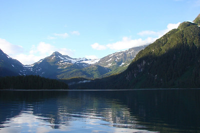 Anchored for the night in a cove inside Sawmill Bay off Port Valdez.  Photo taken at 8:32 PM.