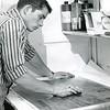 Preparing printing plates at teh Bennington Banner, 1962