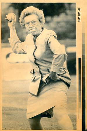Amy Bess Miller thows out the first pitch at Wahconah Park, July 4, 1992