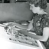Composing a page on a light table at the Bennington Banner in 1962.