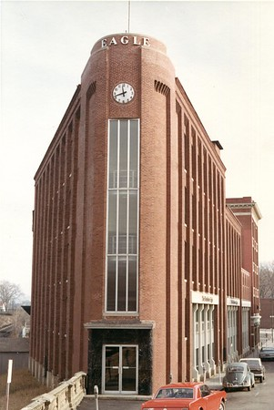 Color photo of the Eagle Building on Eagle Street from 1966.  The Building was built on 1904.