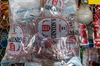 packets of cheap whiskey shots. Bangem, Southwest Region, Cameroon Africa