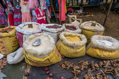 Rice, beans, onions, and ginger at the weekly market. Nyasoso, Southwest Region, Cameroon Africa