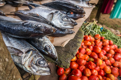 fish and tomatos, weekly market. Nyasoso, Southwest Region, Cameroon Africa