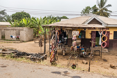 Motorcycle shop and gas station. Bonaberi, Littoral Region, Cameroon Africa