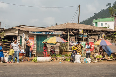 Jeaninne Couture and street market. Penja, Southwest Region, Cameroon Africa