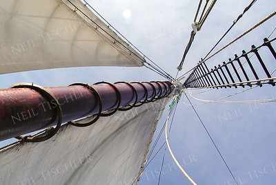 #018  The Main Mast on Schooner J&E Riggins, heading out for a windjammer cruise on Penobscot Bay, Maine.