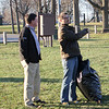 Lebanon resident Dustin O'Brien talks to Indiana Congressman Todd Rokita at Abner Longley Southside Park Monday afternoon.
