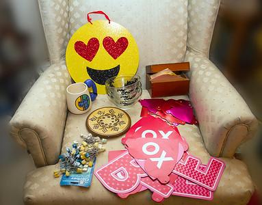 Be my Valentine banners, diaper pins, 3x5 card box, trivet, mug, bowls, smiley face