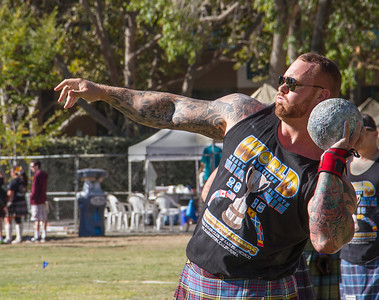 Game of ThRONes guy, putting the shot, Scottish Games in Pleasanton.