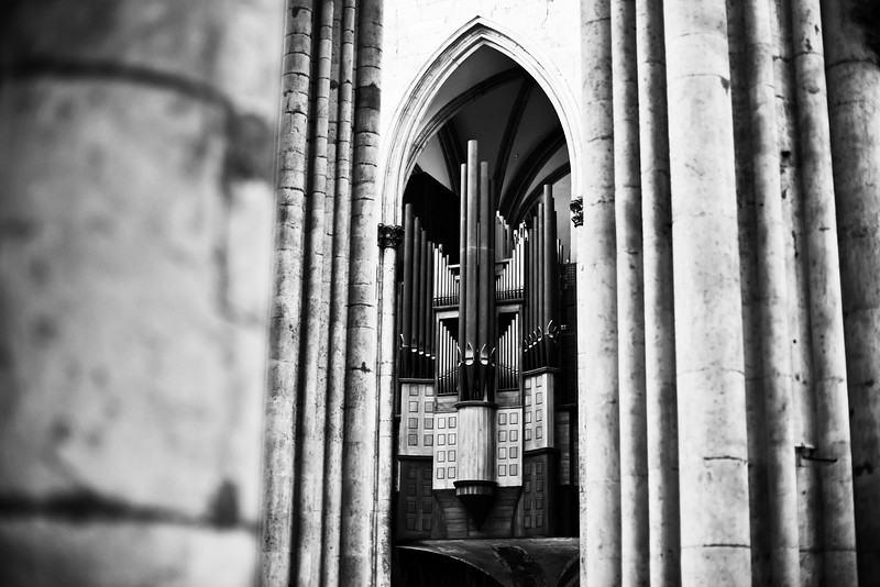"The <a href=""http://klais.de/m.php?sid=112&page=3"" target=""_blank"">transept organ</a> at Cologne Cathedral, built by Klais in 1948 in celebration of the 700th year of the cathedral. This monumental instrument, most of which is hidden behind the façade, has two registers of full-length 32-foot pitch and an exquisite palette of mutation stops. It is complemented by a second organ high up in the immense nave.<br><span style=""font-size:75%"">©Yangchen Lin</span>"