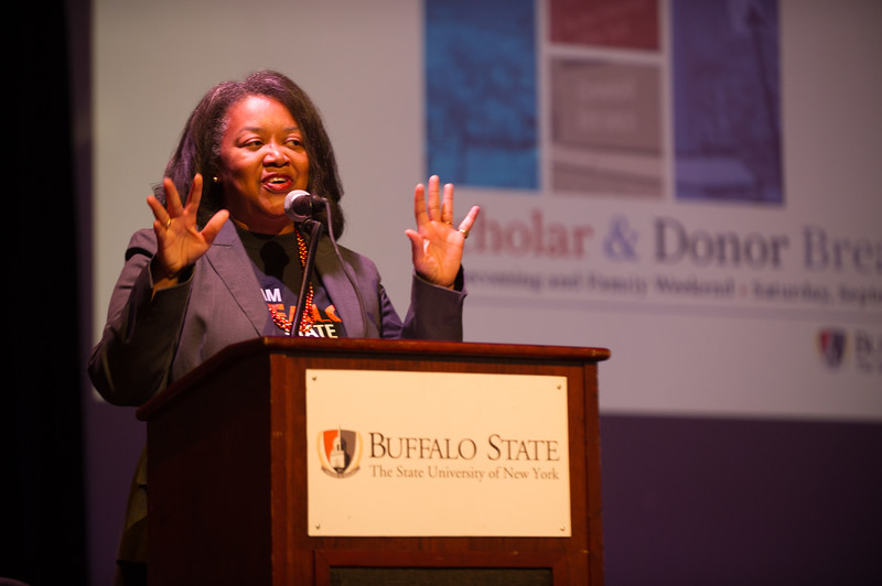 President Katherine Conway-Turner speaking at the Scholar Donor Breakfast at Buffalo State College.